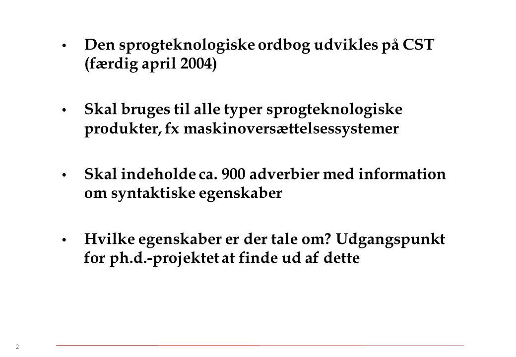 Den sprogteknologiske ordbog udvikles på CST (færdig april 2004)