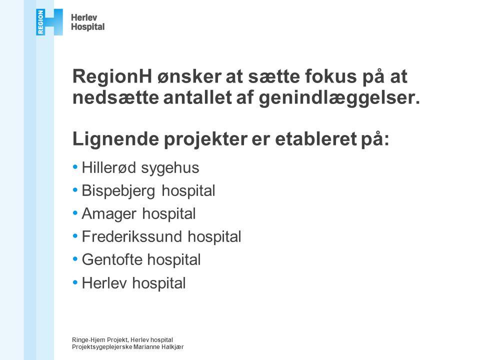 RegionH ønsker at sætte fokus på at nedsætte antallet af genindlæggelser. Lignende projekter er etableret på: