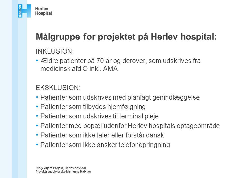 Målgruppe for projektet på Herlev hospital:
