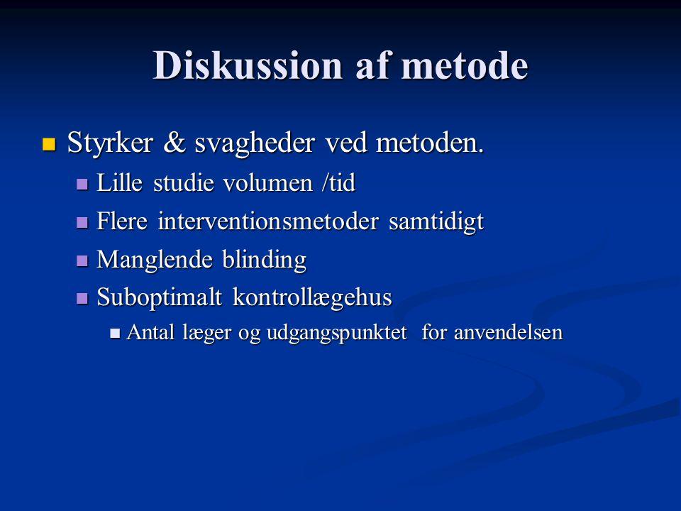 Diskussion af metode Styrker & svagheder ved metoden.
