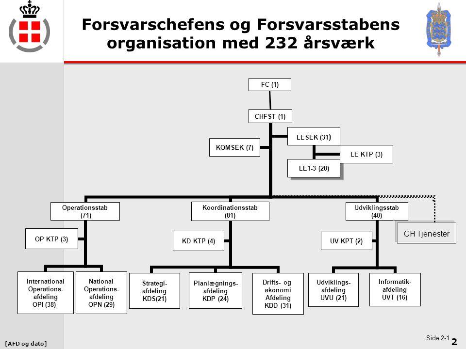 Forsvarschefens og Forsvarsstabens organisation med 232 årsværk