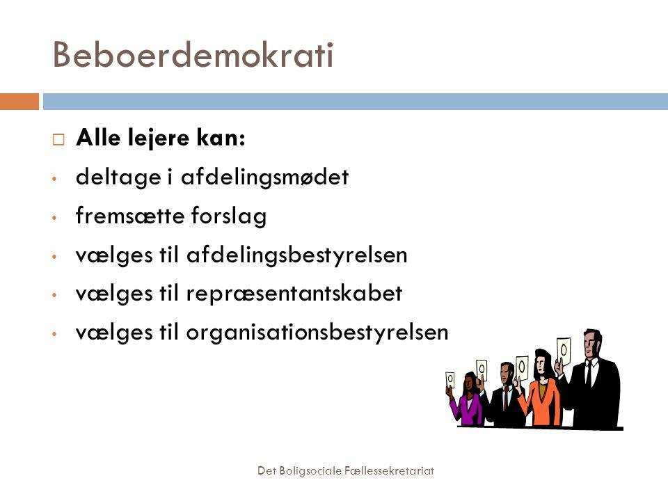 Beboerdemokrati Alle lejere kan: deltage i afdelingsmødet