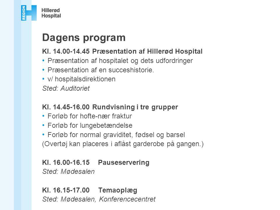 Dagens program Kl. 14.00-14.45 Præsentation af Hillerød Hospital