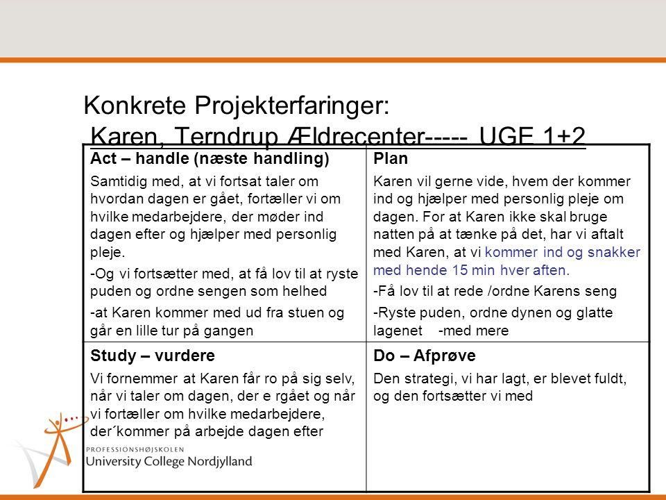 Konkrete Projekterfaringer: Karen, Terndrup Ældrecenter----- UGE 1+2