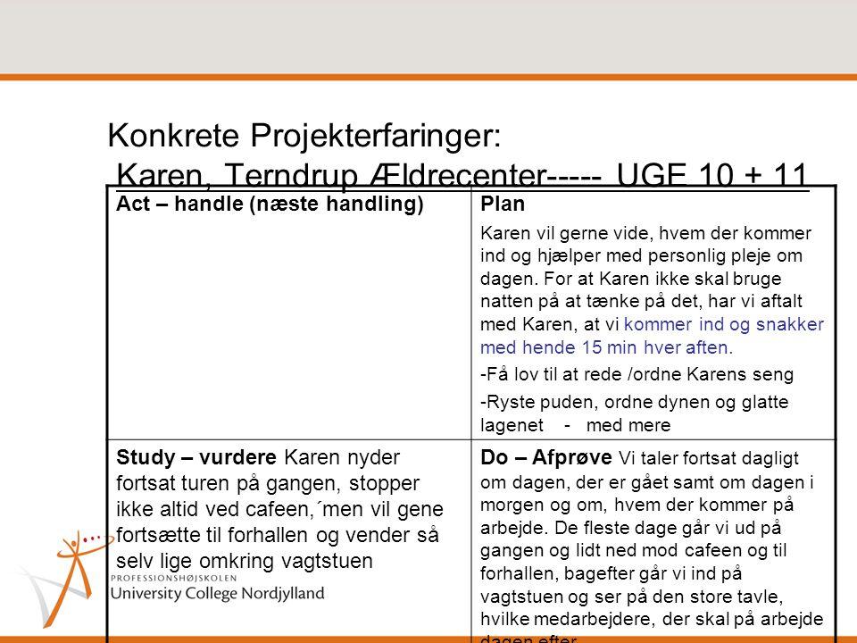 Konkrete Projekterfaringer: Karen, Terndrup Ældrecenter----- UGE 10 + 11