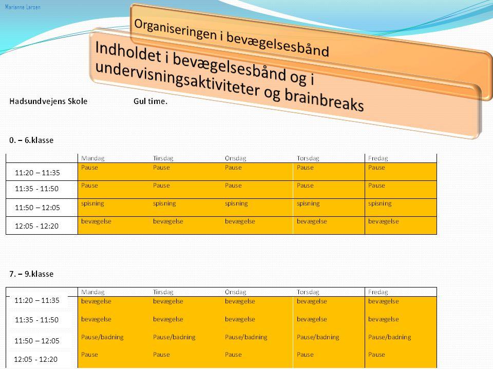 Marianne Larsen Indholdet i bevægelsesbånd og i undervisningsaktiviteter og brainbreaks. 11:20 – 11:35.