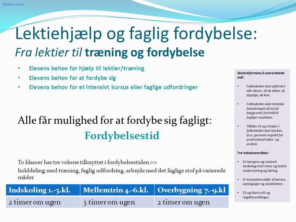 Marianne Larsen Lektiehjælp og faglig fordybelse: Fra lektier til træning og fordybelse. Elevens behov for hjælp til lektier/træning.
