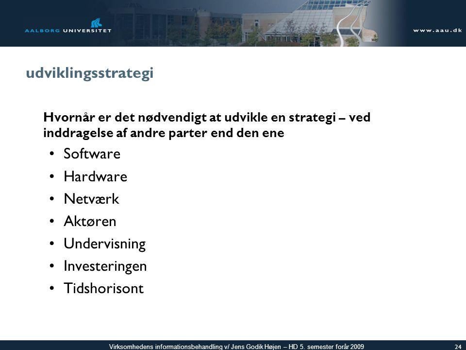 udviklingsstrategi Software Hardware Netværk Aktøren Undervisning