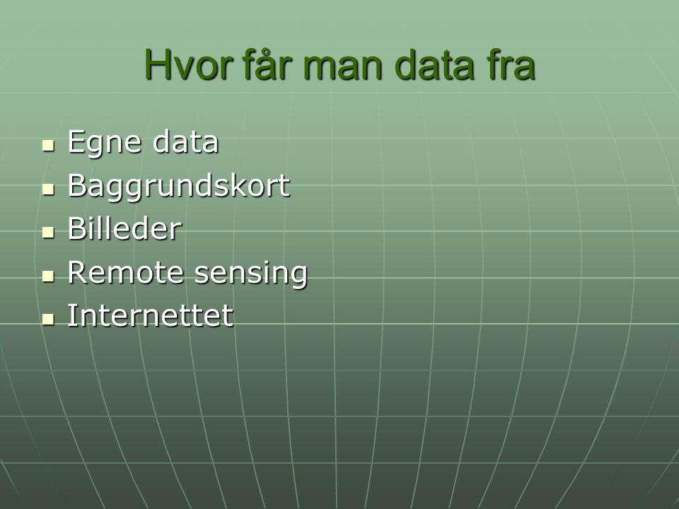 Hvor får man data fra Egne data Baggrundskort Billeder Remote sensing