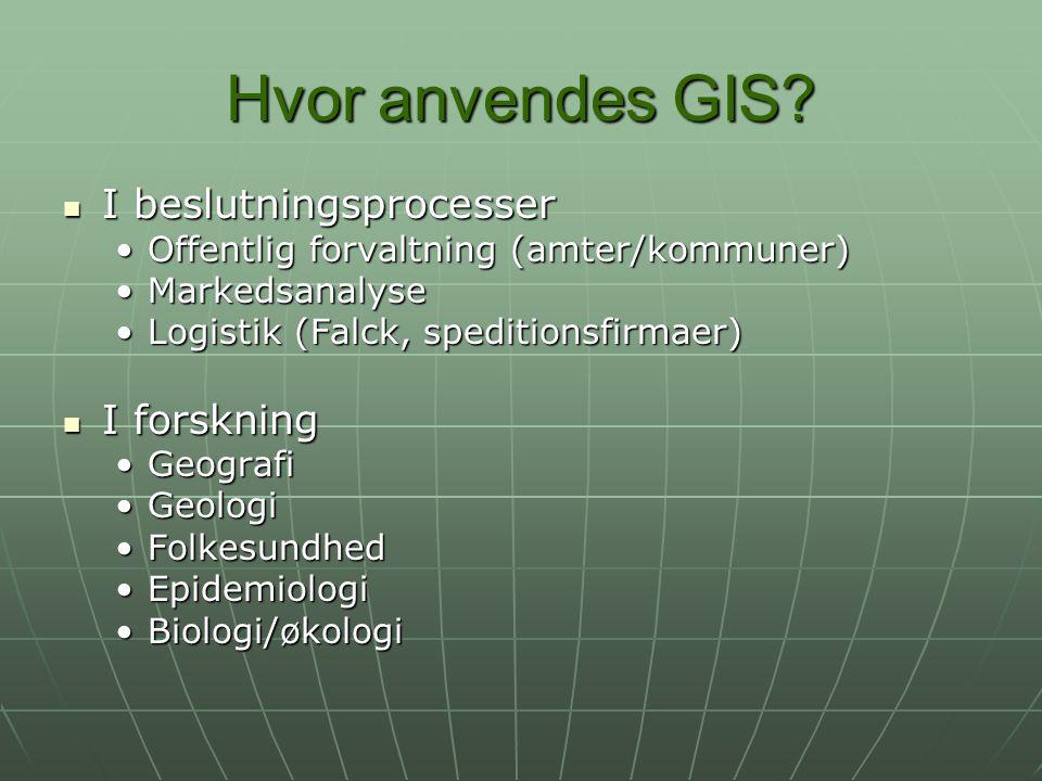 Hvor anvendes GIS I beslutningsprocesser I forskning