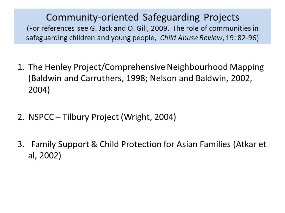 Community-oriented Safeguarding Projects (For references see G