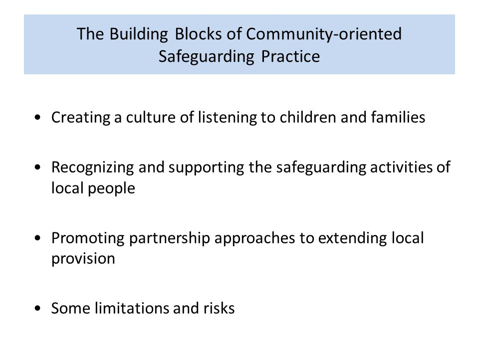 The Building Blocks of Community-oriented Safeguarding Practice