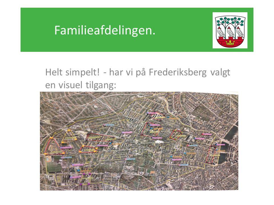Familieafdelingen. Helt simpelt! - har vi på Frederiksberg valgt en visuel tilgang: