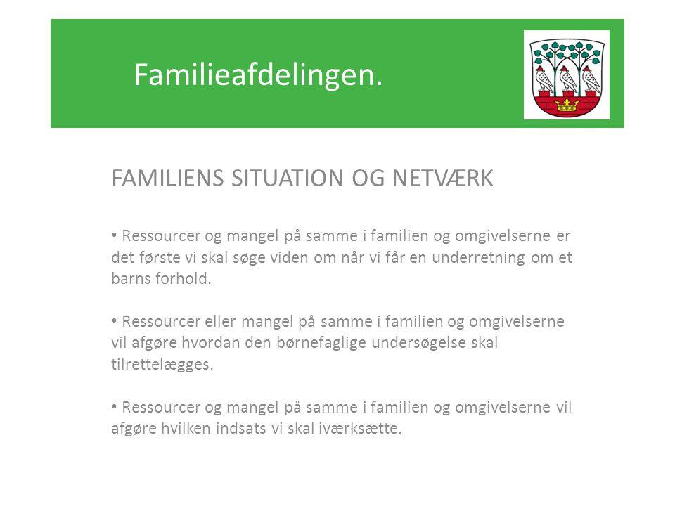 Familieafdelingen. FAMILIENS SITUATION OG NETVÆRK
