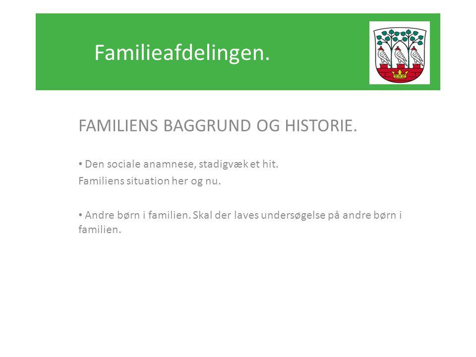 Familieafdelingen. FAMILIENS BAGGRUND OG HISTORIE.