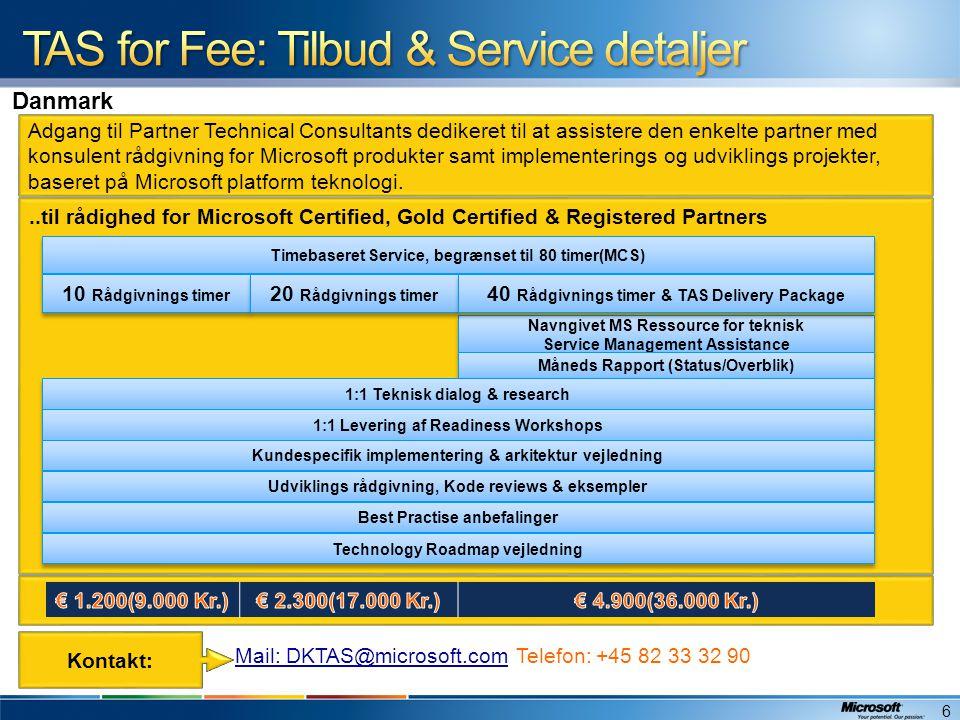 TAS for Fee: Tilbud & Service detaljer