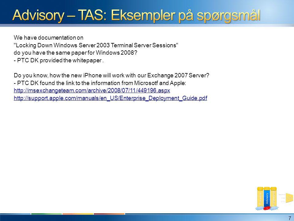 Advisory – TAS: Eksempler på spørgsmål
