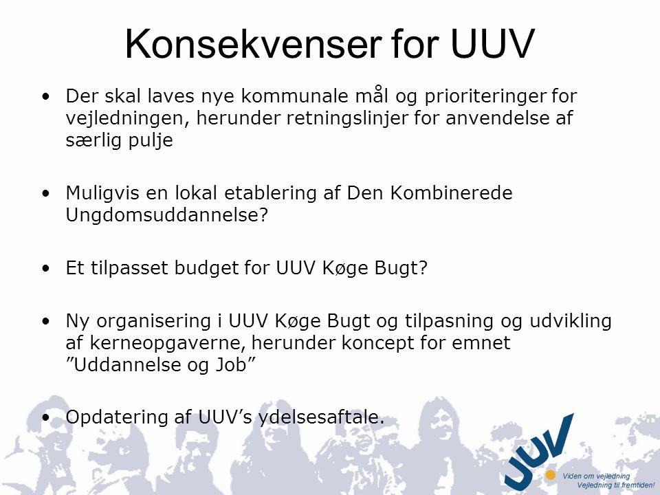Konsekvenser for UUV Der skal laves nye kommunale mål og prioriteringer for vejledningen, herunder retningslinjer for anvendelse af særlig pulje.