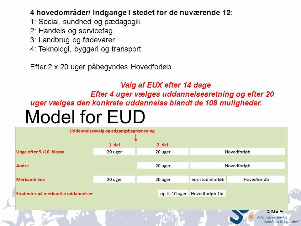 Model for EUD 4 hovedområder/ indgange i stedet for de nuværende 12: