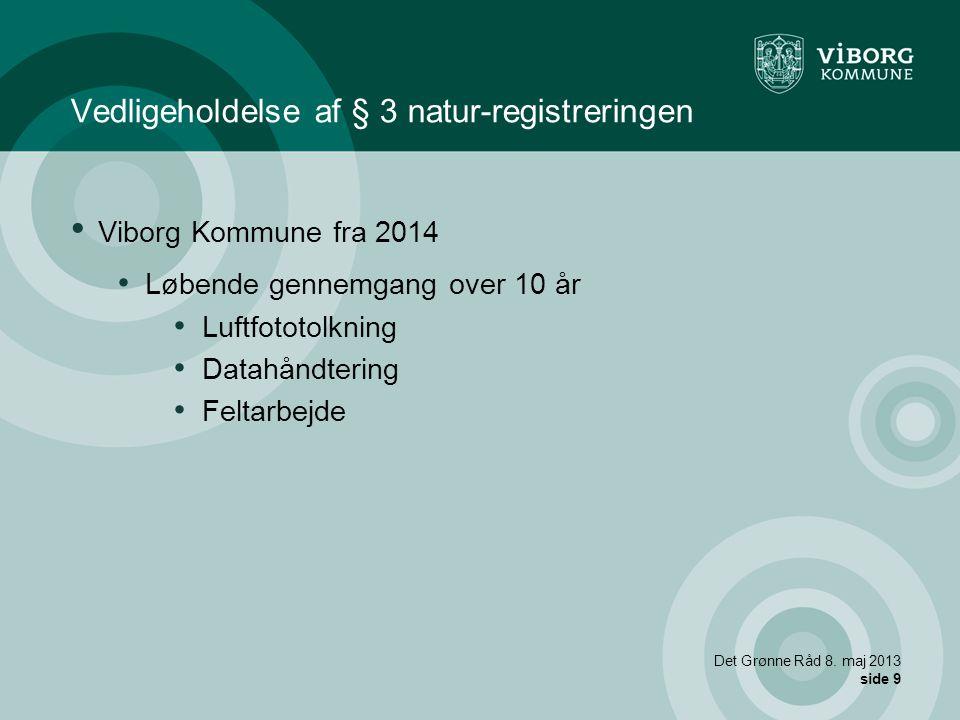 Vedligeholdelse af § 3 natur-registreringen