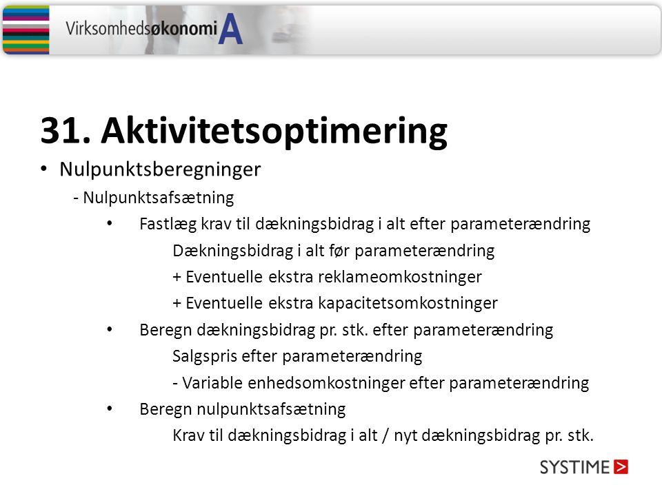 31. Aktivitetsoptimering