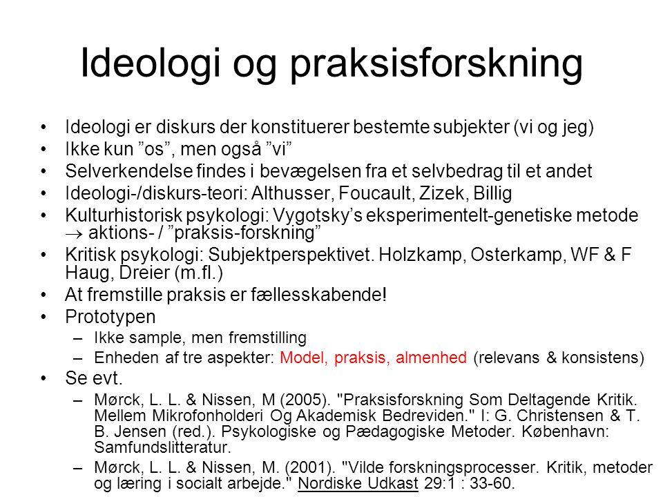 Ideologi og praksisforskning