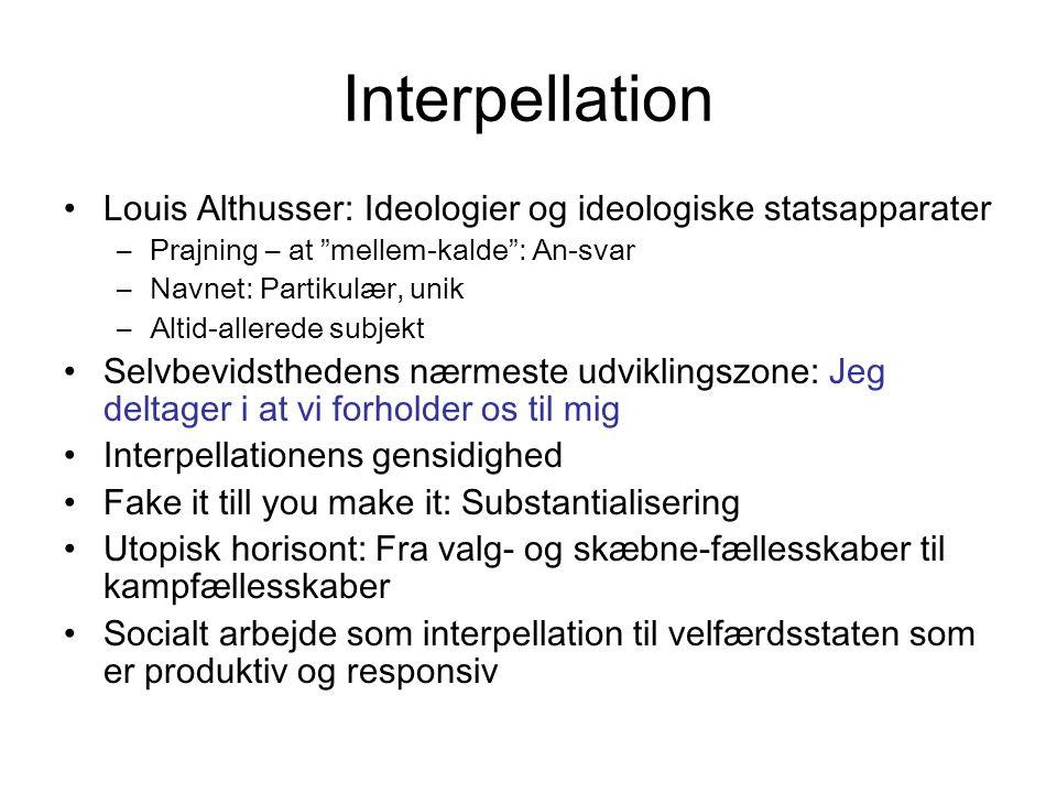 Interpellation Louis Althusser: Ideologier og ideologiske statsapparater. Prajning – at mellem-kalde : An-svar.