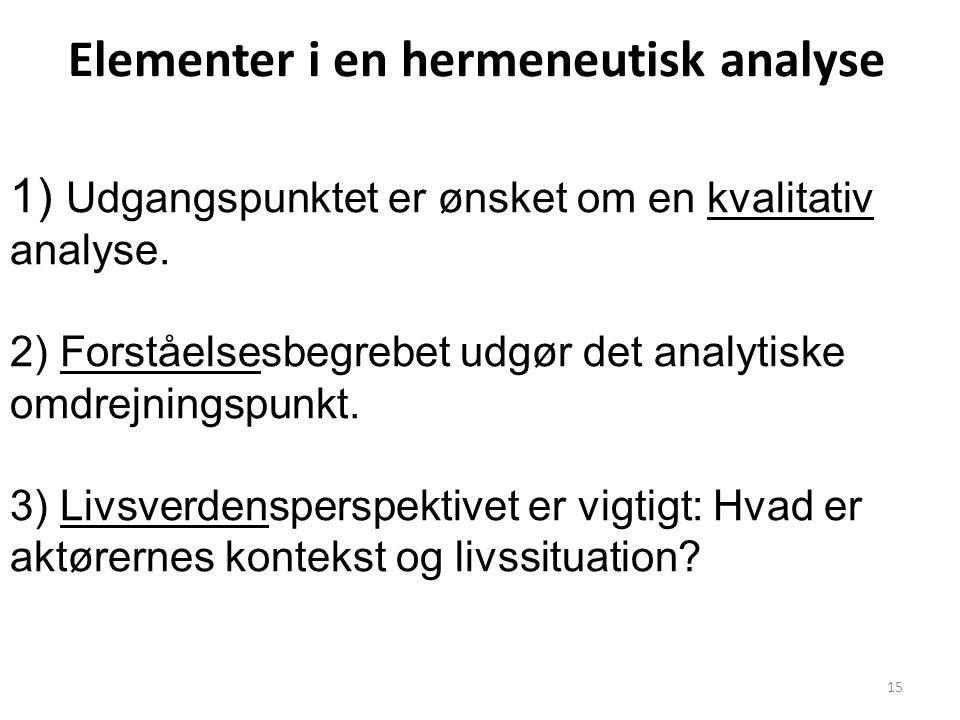 Elementer i en hermeneutisk analyse