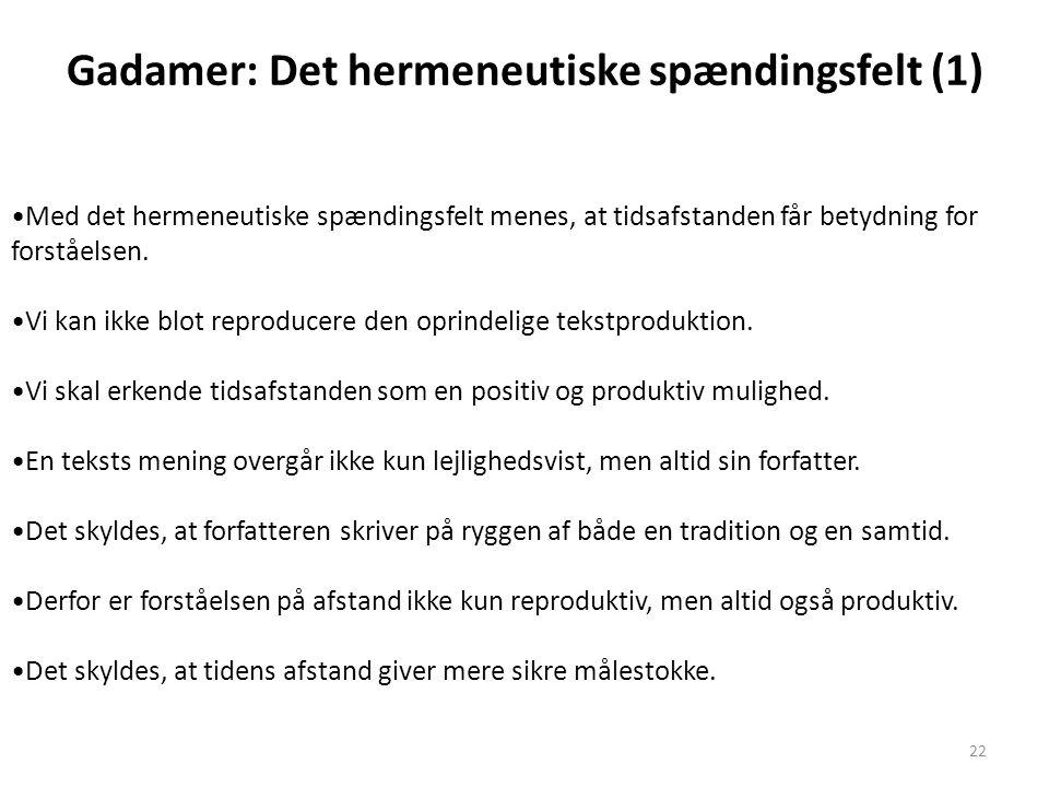 Gadamer: Det hermeneutiske spændingsfelt (1)