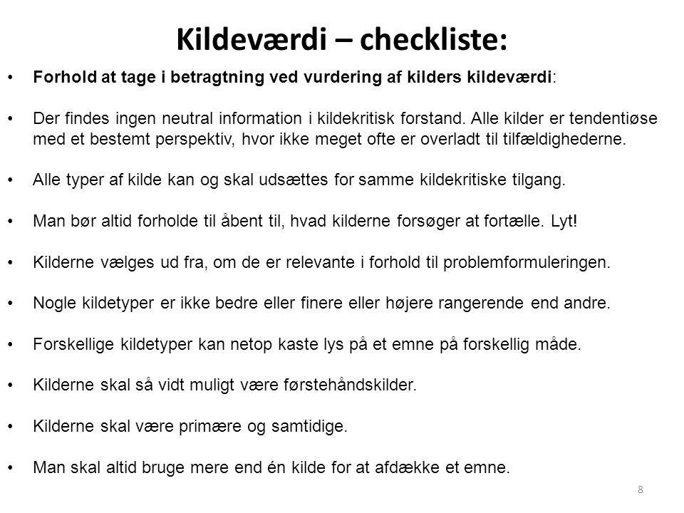 Kildeværdi – checkliste: