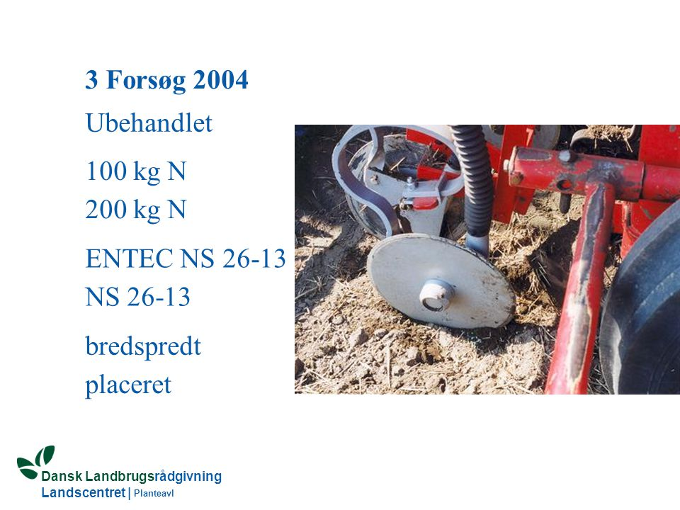 3 Forsøg 2004 Ubehandlet 100 kg N 200 kg N ENTEC NS 26-13 NS 26-13