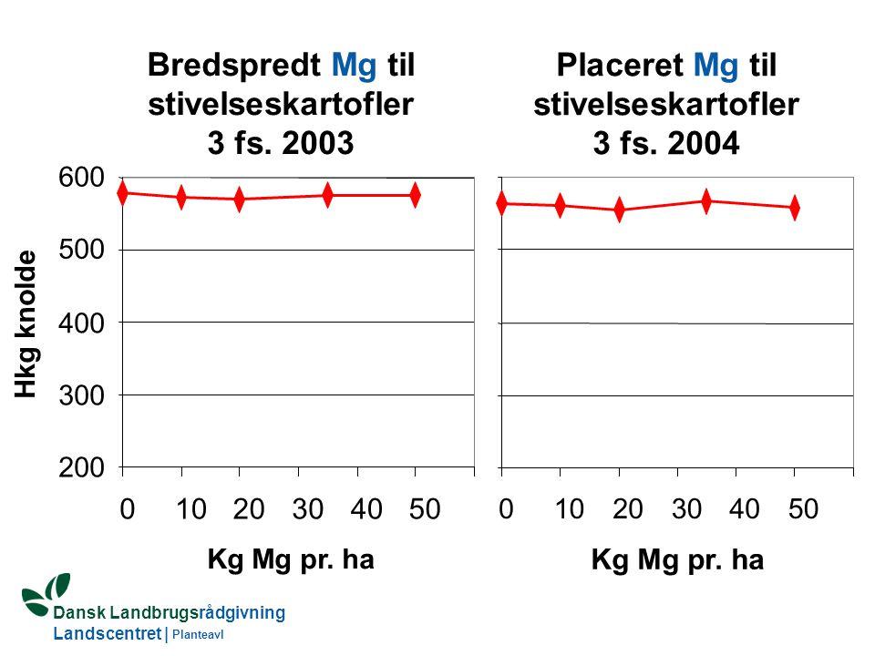Bredspredt Mg til stivelseskartofler 3 fs. 2003 Placeret Mg til
