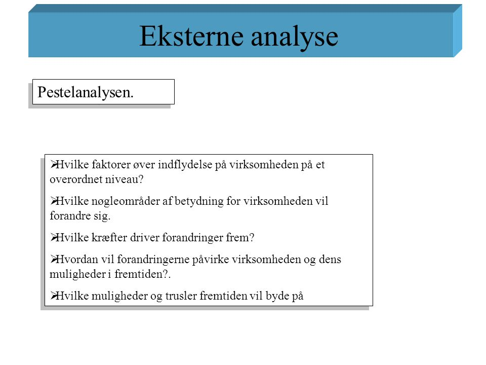 Eksterne analyse Pestelanalysen.