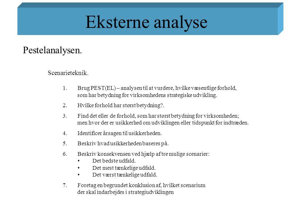 Eksterne analyse Pestelanalysen. Scenarieteknik.