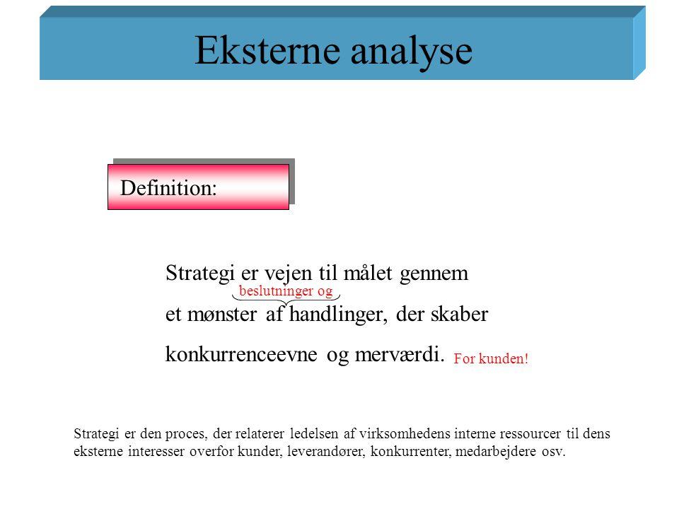 Eksterne analyse Definition: Strategi er vejen til målet gennem