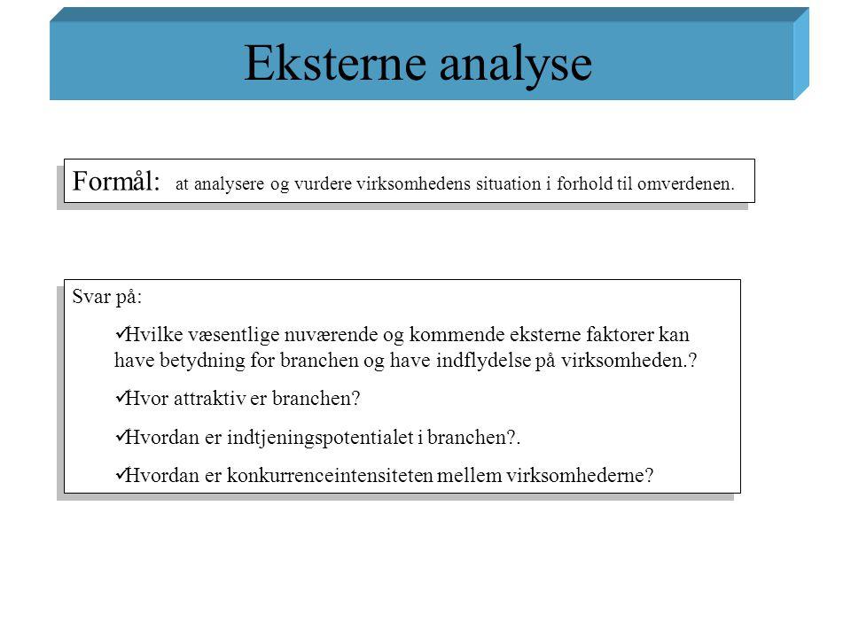 Eksterne analyse Formål: at analysere og vurdere virksomhedens situation i forhold til omverdenen.