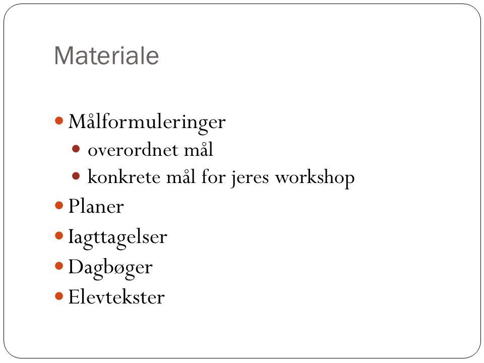 Materiale Målformuleringer Planer Iagttagelser Dagbøger Elevtekster