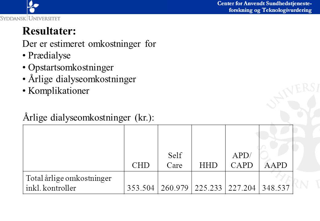 Resultater: Der er estimeret omkostninger for Prædialyse