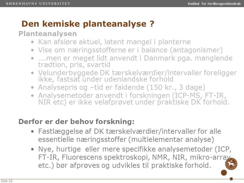 Den kemiske planteanalyse