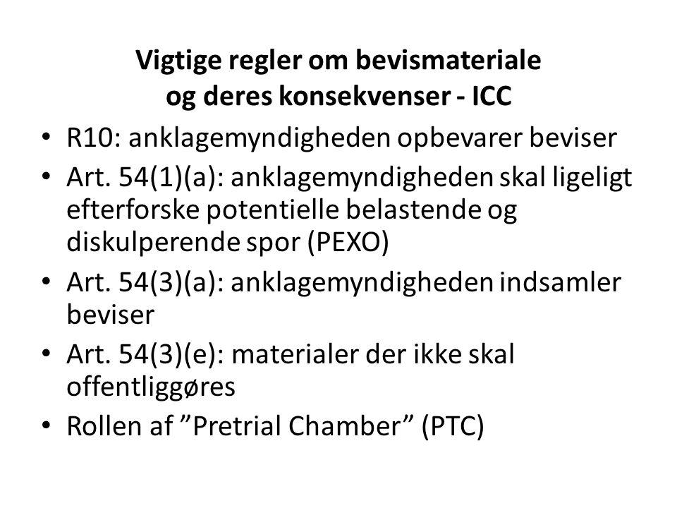Vigtige regler om bevismateriale og deres konsekvenser - ICC