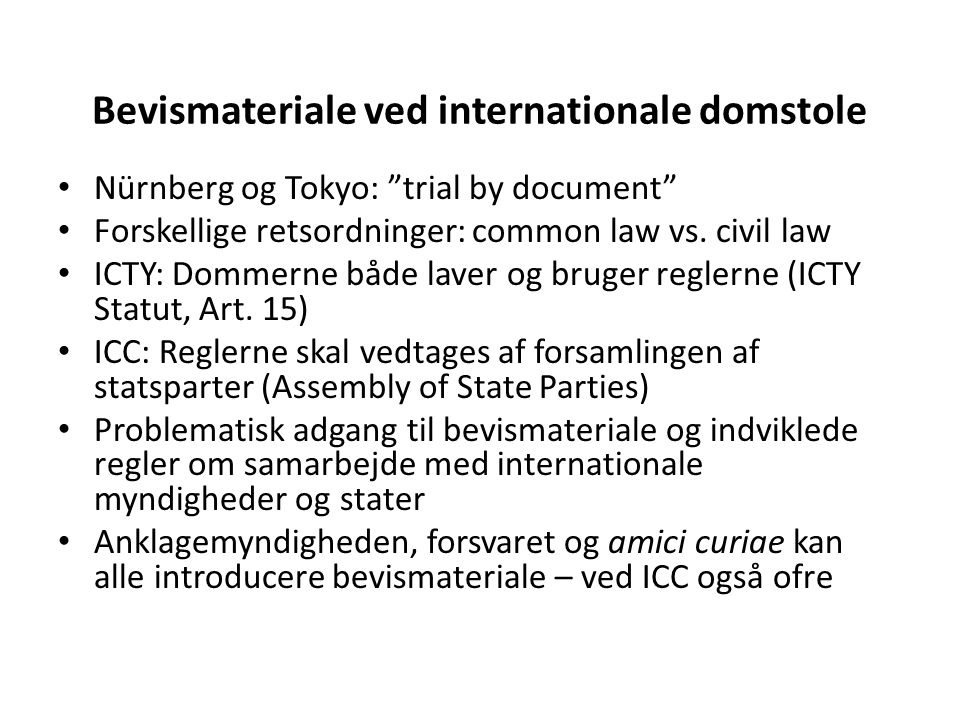 Bevismateriale ved internationale domstole