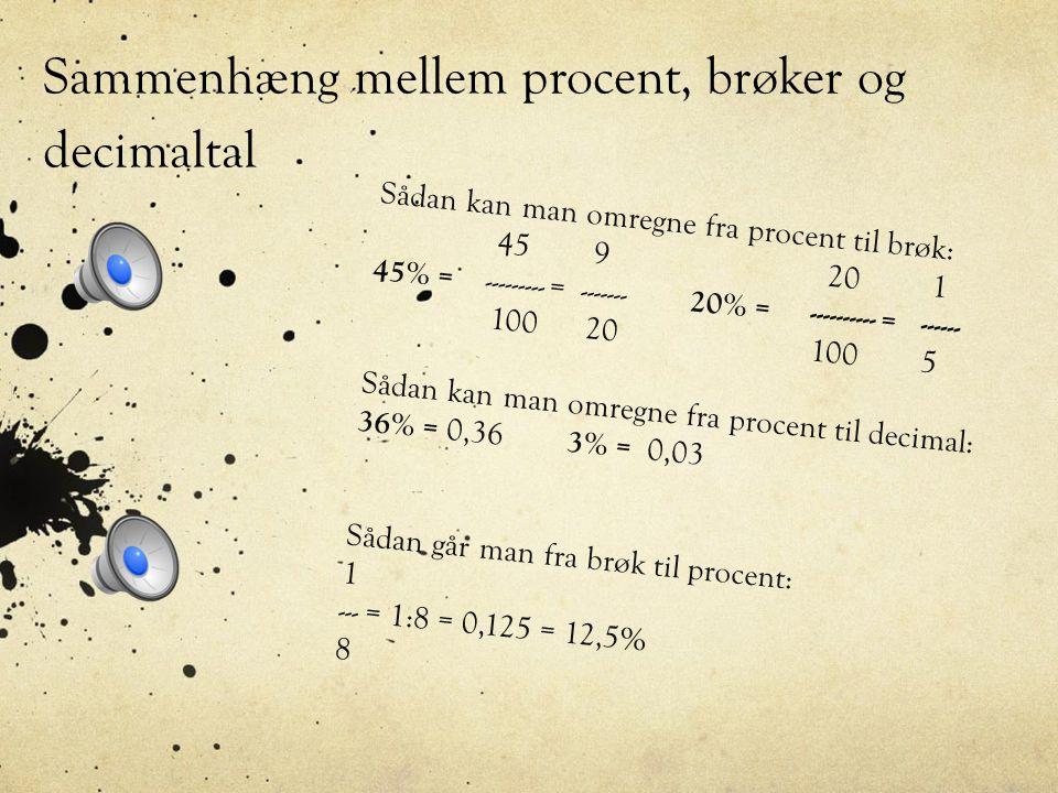 Sammenhæng mellem procent, brøker og decimaltal