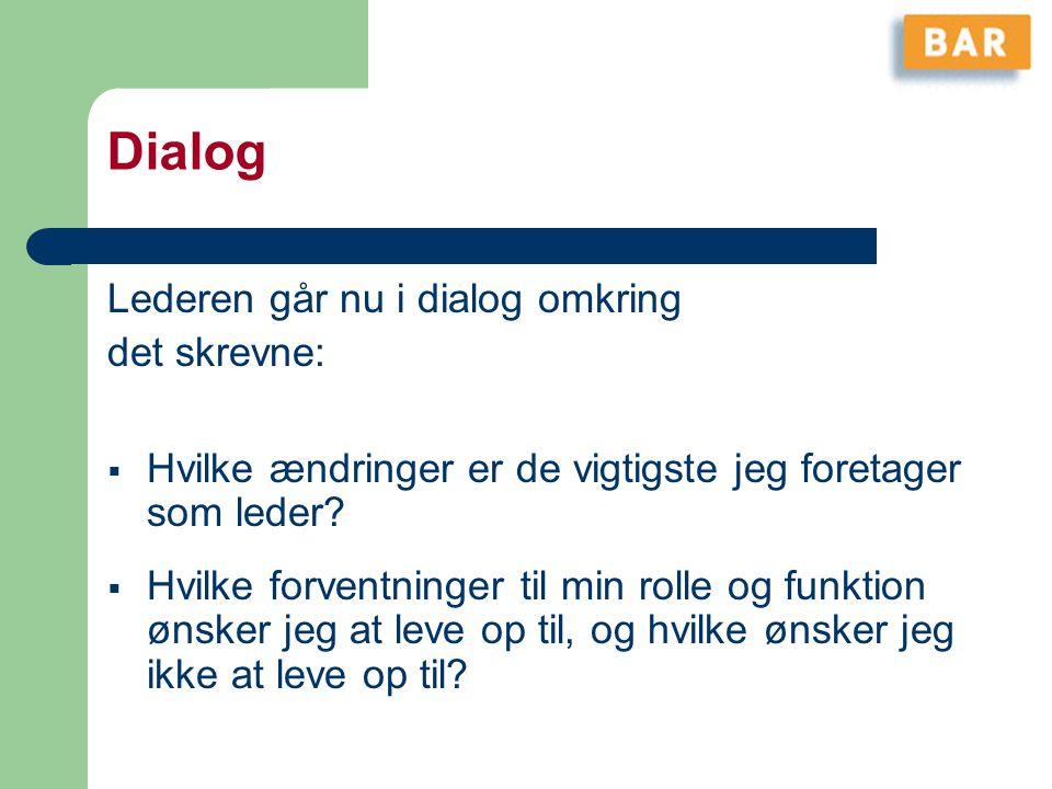 Dialog Lederen går nu i dialog omkring det skrevne: