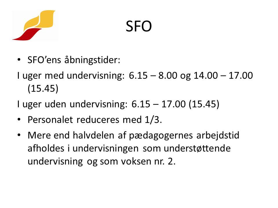 SFO SFO'ens åbningstider: