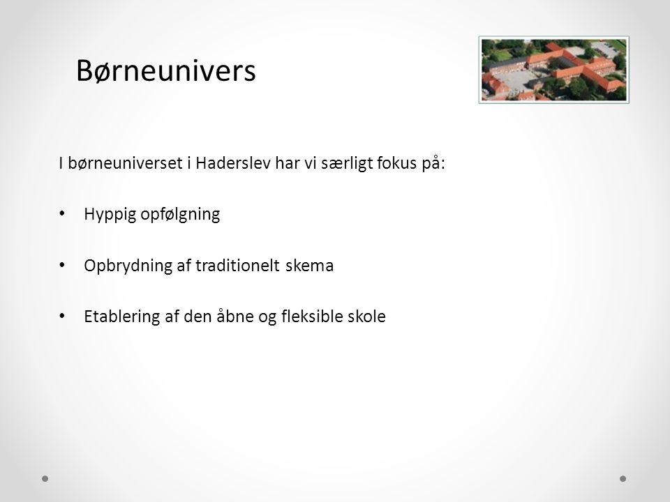 Børneunivers I børneuniverset i Haderslev har vi særligt fokus på: