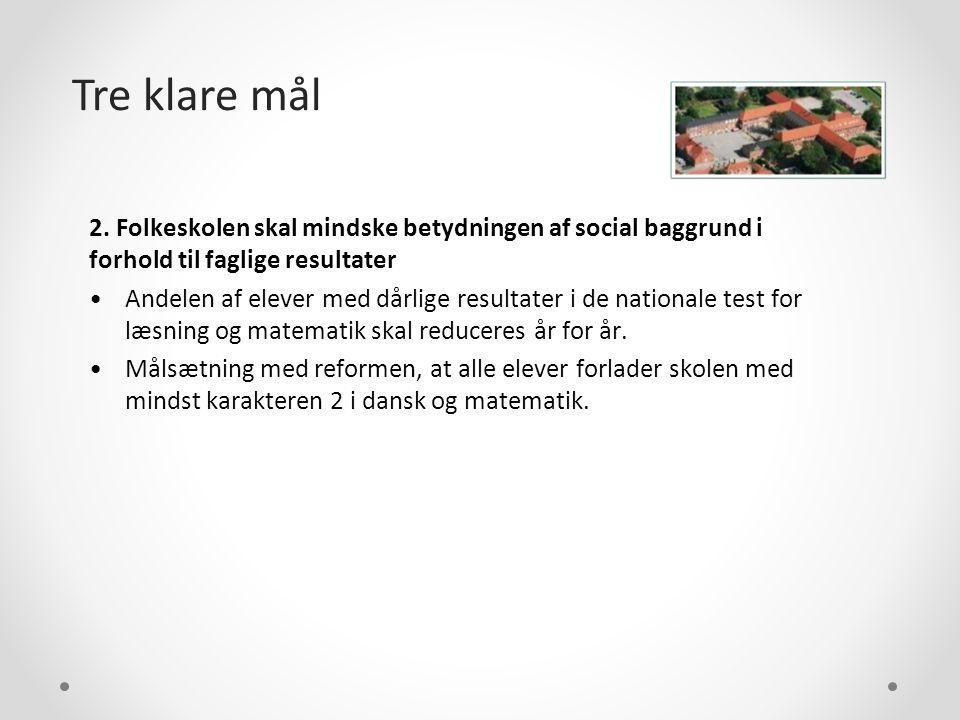 Tre klare mål 2. Folkeskolen skal mindske betydningen af social baggrund i forhold til faglige resultater.