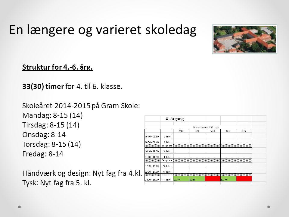 Struktur for 4.-6. årg. 33(30) timer for 4. til 6. klasse. Skoleåret 2014-2015 på Gram Skole: Mandag: 8-15 (14)