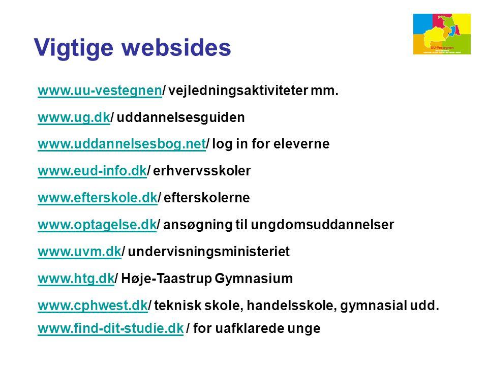 Vigtige websides www.uu-vestegnen/ vejledningsaktiviteter mm.