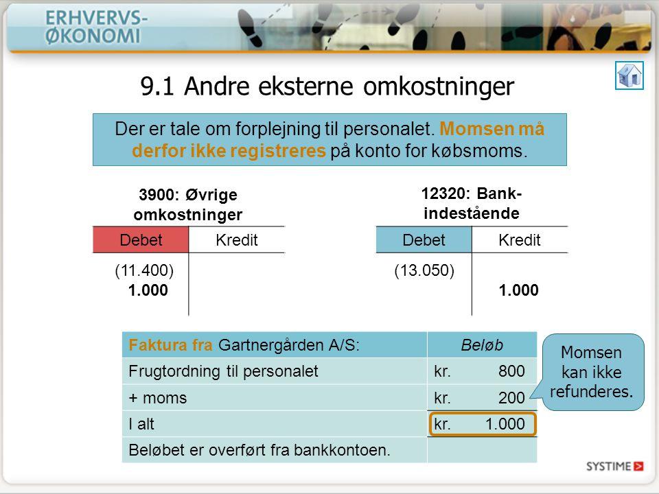 9.1 Andre eksterne omkostninger