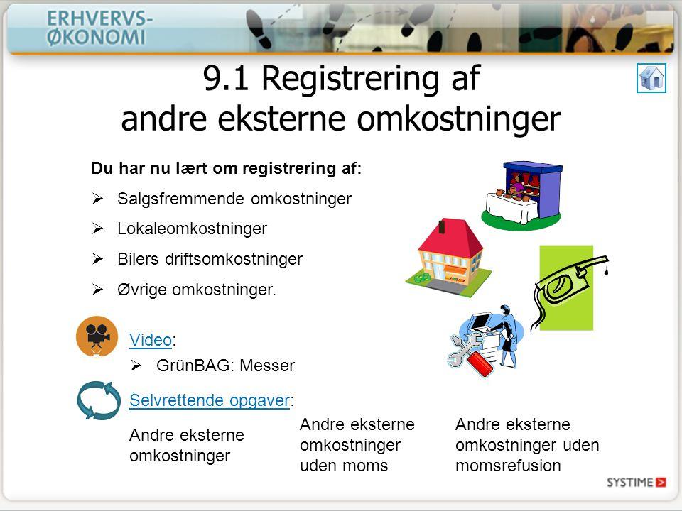 9.1 Registrering af andre eksterne omkostninger